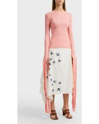 JW Anderson - Tie-detailed Ribbed Cotton Top, Size S, Women, Pink - Lyst