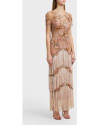 Notte by Marchesa - Fringed Gown, Size Us4, Women, Pink - Lyst