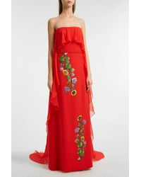 Reem Acra - Strapless Chiffon Gown, Size Us8, Women, Red - Lyst