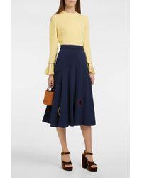 Roksanda | Carson Satin-panelled Silk-crepe Skirt | Lyst