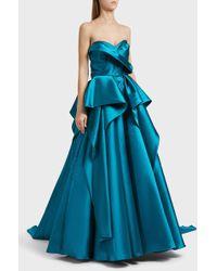 Marchesa - Strapless Mikado Ball Gown, Size Us8, Women, Blue - Lyst