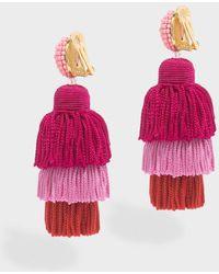 Oscar de la Renta - Long Silk Tassel Earrings, Size Os, Women, Pink - Lyst