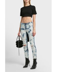 T By Alexander Wang - Cropped Cotton T-shirt - Lyst