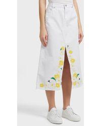 SJYP - Frayed Embroidered Denim Skirt, Size S, Women, White - Lyst