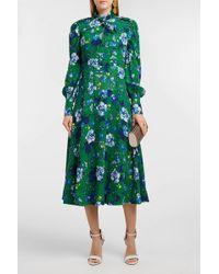 Erdem - Ellera Floral-print Crepe Midi Dress - Lyst