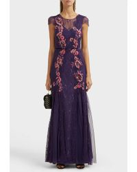 Marchesa notte - Plunge Back Floral Dress - Lyst