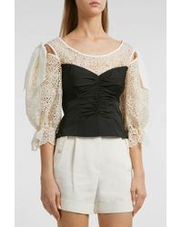 Rebecca Taylor - Malorie Panelled Top, Size Us4, Women - Lyst
