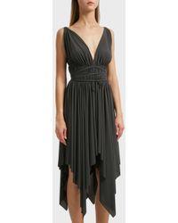 Norma Kamali - Goddess Jersey Midi Dress, Size M, Women, Grey - Lyst