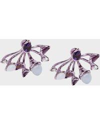 Fernando Jorge - Calyx Lilac-coated 18-karat Gold Diamond, Amethyst And Chalcedony Earrings - Lyst