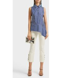 10 Crosby Derek Lam - Striped Cotton Top, Size Us2, Women, Blue - Lyst