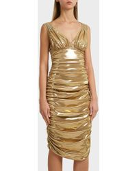 Norma Kamali - Ruched Lamé Dress, Size Xs, Women, Y Gold - Lyst