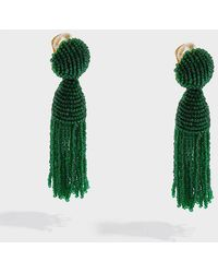 Oscar de la Renta - Tasselled Beaded Clip Earrings - Lyst