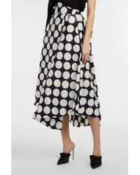 Awake - Asymmetric Polka-dot Satin-twill Skirt, Size Fr36, Women - Lyst