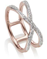Monica Vinader - Rp Riva Wave Cross Ring - Diamond - Lyst