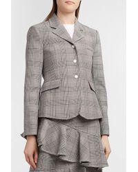 Ganni - Garvey Checked Woven Blazer, Size Fr40, Women, Grey - Lyst