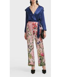 For Restless Sleepers - Hooded Silk Wrap Jacket, Size 2, Women, Navy - Lyst