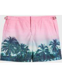 Orlebar Brown - Bulldog Photographic Swim Shorts, Size 30, Men, Pink - Lyst