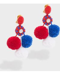 Oscar de la Renta - Triple Pompom Earrings - Lyst
