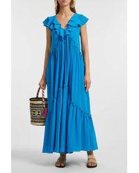 Three Graces London - Wilhelmina Ruffled Silk Midi Dress - Lyst