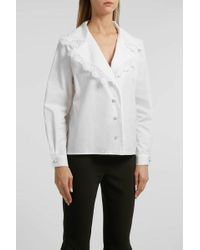 Alessandra Rich - Lace-trimmed Cotton Shirt, Size It42, Women, White - Lyst