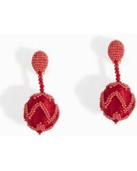 Oscar de la Renta | Chevron Ball Earring | Lyst