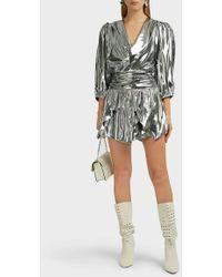 11c3e2e27e Isabel Marant Kira Draped Silk-blend Skirt in Metallic - Lyst