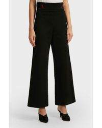 Vivetta - Neville Cropped Embroidered Cady Wide-leg Trousers - Lyst