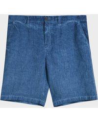 120% Lino - 120% Lino Linen Shorts, Size It48, Men, Blue - Lyst