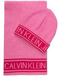 Calvin Klein - Set: Schal und Mütze - Lyst