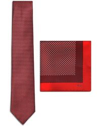 Brioni - Red And Navy Blue Micro-designed Tie Set - Lyst