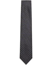 Brioni - Navy-blue And Mustard Micro-design Tie - Lyst
