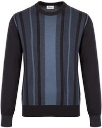 Brioni - Navy-blue Cotton And Silk Striped Sweater With Two-tone Trim - Lyst