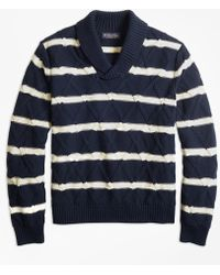 Brooks Brothers - Nautical Stripe Shawl Collar Sweater - Lyst
