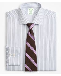 Brooks Brothers - Milano Slim-fit Dress Shirt, Non-iron Hairline Framed Stripe - Lyst