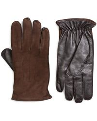 Brooks Brothers - Leather And Suede Touch Screen Gloves - Lyst