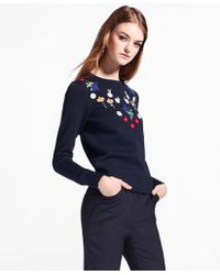 Brooks Brothers - Floral Embroidered Stretch-cotton Jumper - Lyst