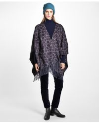 Brooks Brothers - Double-faced Animal-print Cashmere Ruana - Lyst