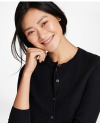 Brooks Brothers - Tuck-stitch Cotton Cropped Cardigan - Lyst