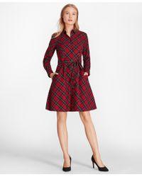 Brooks Brothers - Plaid Cotton Twill A-line Shirt Dress - Lyst