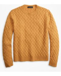 Brooks Brothers - Traveling Cable Crewneck Sweater - Lyst