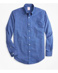 Brooks Brothers - Madison Fit Mini-windowpane Brushed Oxford Sport Shirt - Lyst