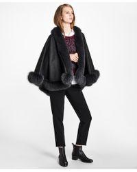 Brooks Brothers - Fox-fur-trimmed Cashmere Ruana - Lyst