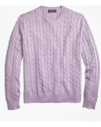 Brooks Brothers - Supima® Cotton Cable Crewneck Sweater - Lyst