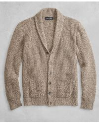 Brooks Brothers - Golden Fleece® 3-d Knit Marled Alpaca-blend Shawl-collar Cardigan - Lyst