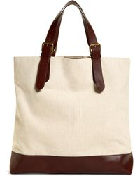 Brooks Brothers - Herringbone Canvas And Leather Tote - Lyst