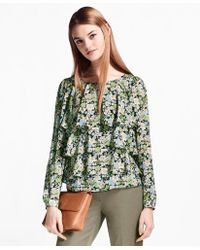 Brooks Brothers - Floral-print Ruffled Silk Blouse - Lyst