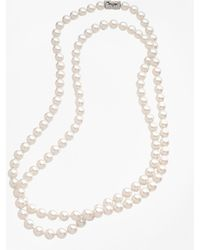 Brooks Brothers - 10mm Glass Pearl Necklace With Deco Clasp - Lyst