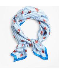 Brooks Brothers - Rose-print Striped Silk Square Scarf - Lyst