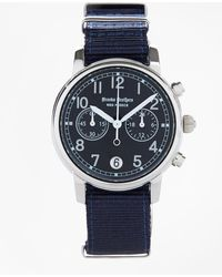 Brooks Brothers - Round Navy Face Watch With Nylon Band - Lyst