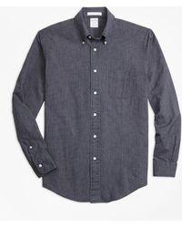 Brooks Brothers - Milano Fit Indigo Chambray Micro-check Sport Shirt - Lyst